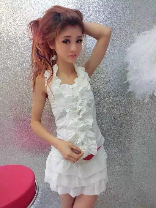 ☆Candy Box☆2015掛脖無袖性感荷葉邊拼接上衣+短褲套装《送皮帶》白 Z2022201