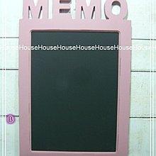 *︵House傢飾︵*zakka鄉村復古風格木製MEMO黑板  留言板(壁掛式)-粉【☆限量款/新發售☆】