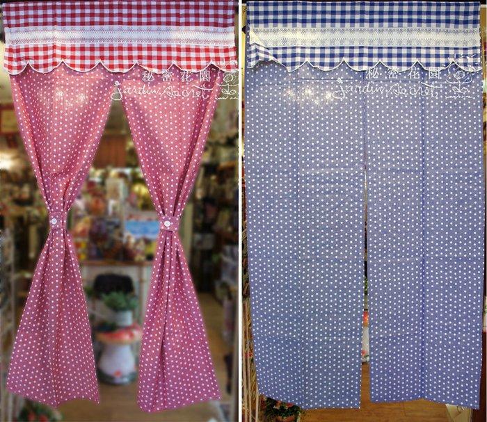 門簾窗簾--進口印花水玉點點中開門簾-85*150cm--秘密花園