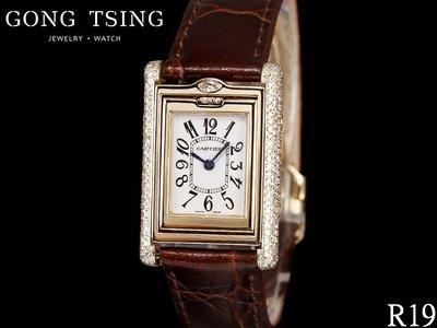 【公信精品】卡地亞錶 (CARTIER) 原鑲鑽錶 2480 原廠黃K金 美洲豹 附原廠全新皮錶帶 原廠保單 盒子