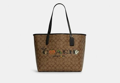 Coach City Tote In Signature Canvas With Halloween