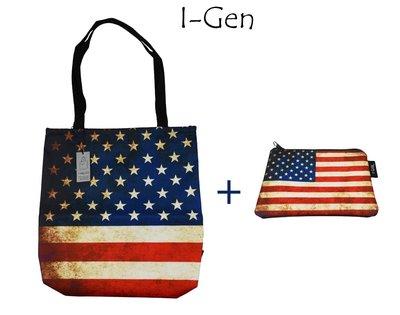 i-GEN_愛錢包_托特包-美國國旗款-買大送小- 防水包 側肩包 側背包 化妝包 手拿包文創設計