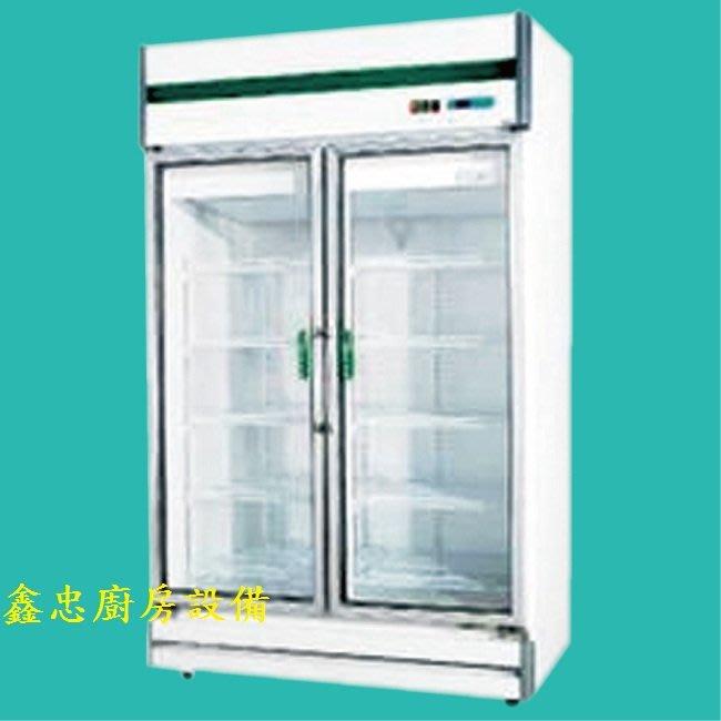 鑫忠廚房設備-餐飲設備:92型雙門玻璃冷藏展示冰箱-賣場有水槽-快速爐-工作台-西餐爐
