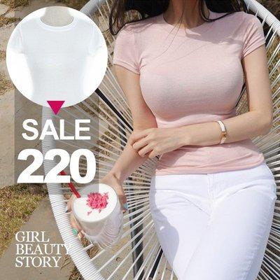超哥小舖【T9003】現貨韓版性感緊身圓領薄款顯曲線短袖打底衫T恤上衣