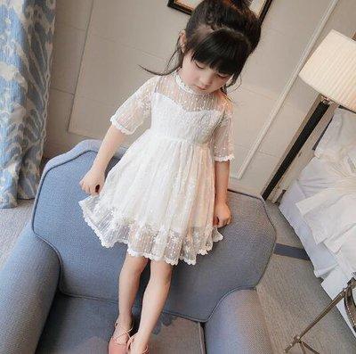 童裝 洋裝 女童連身裙短袖寶寶蕾絲公主裙兒童紗裙子—莎芭