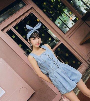 【週末女孩】日韓系甜美收腰顯瘦吊帶短褲...