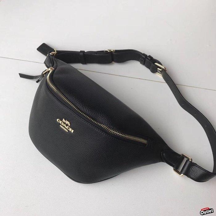 【全球購.COM】COACH 48738 新款女士腰包 黑色胸包 斜跨包 荔枝紋全皮收納包 手機包 美國代購