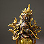 悅年堂 --- 銅 鎏金 菩薩 鑲嵌 玉石 站像