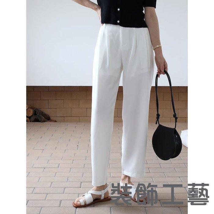 夏季新款高腰闊腿西褲垂感寬松顯瘦直筒九分褲女