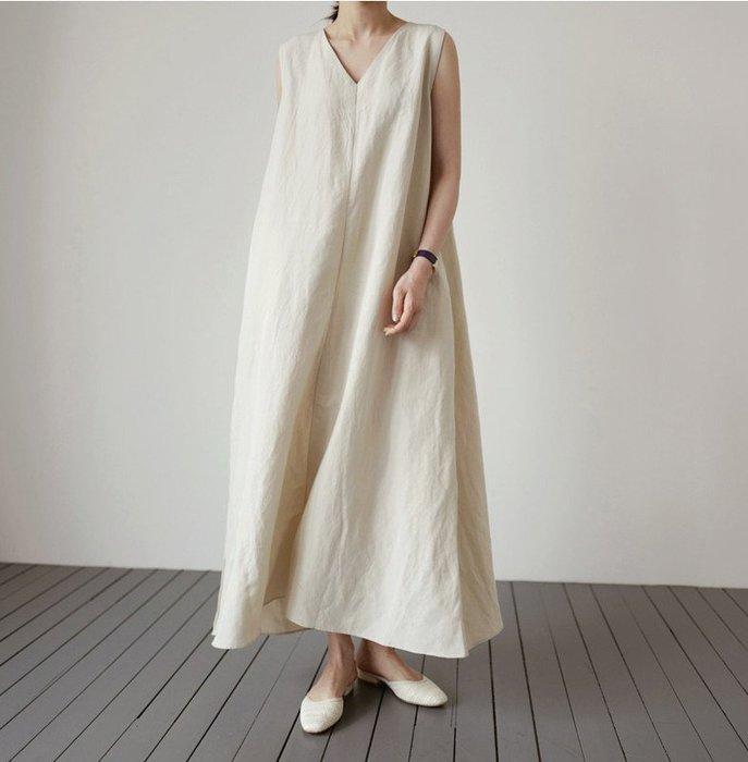 SeyeS {韓國空運} NYLON古著簡約自然風棉麻無袖口袋長板洋裝