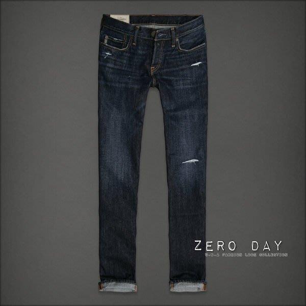 【零時差美國時尚網】A&F Abercrombie&Fitch Slim Straight Jeans人氣深藍刷白刷破百搭直筒牛仔長褲