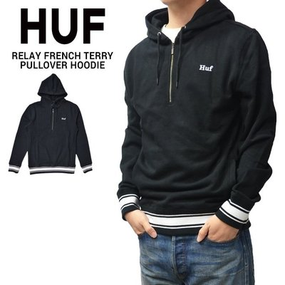 【HOMIEZ】HUF RELAY FRENCH TERRY P/O HOODIE【FL00063】電繡 拉鍊連帽TEE