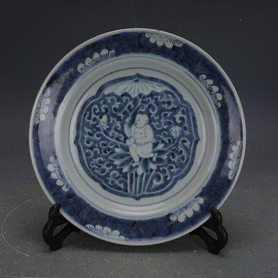 ㊣姥姥的寶藏㊣ 大清光緒手工瓷青花嬰戲圖瓷盤  民窯古瓷器古玩古董收藏擺件
