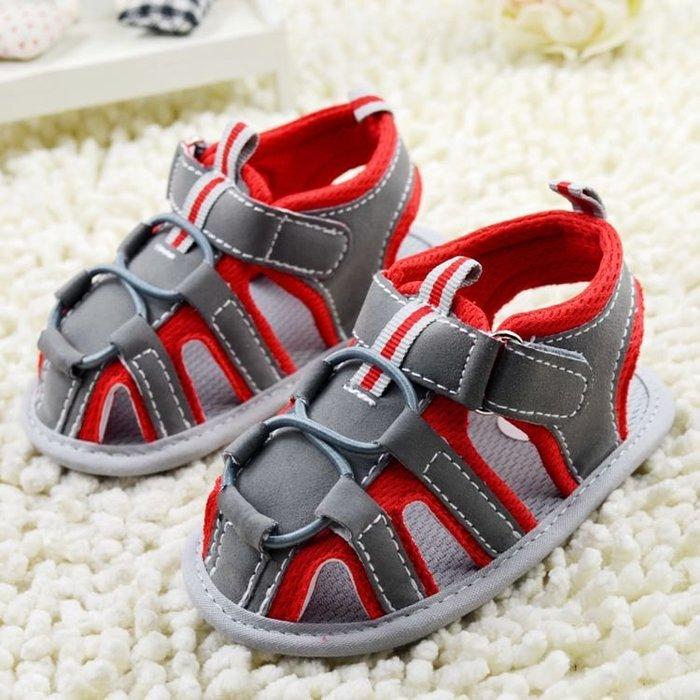 寶貝倉庫~紅灰休閒涼鞋~學步鞋~寶寶鞋~嬰兒鞋~娃娃鞋~童鞋~彌月贈禮~粘扣設計~鞋底止滑