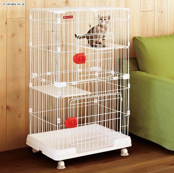 COCO《免運》IRIS室內日系雙層貓籠PMCC-115附輪子、跳板,三開門可上開,好組裝好移動貓屋