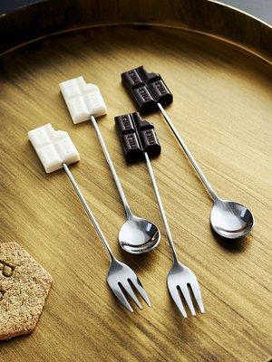 餐具 瓷碗 餐勺 碗碟 套裝攪拌棒水果叉套裝創意可愛家用韓式兒童叉勺套裝創意甜品叉水果叉