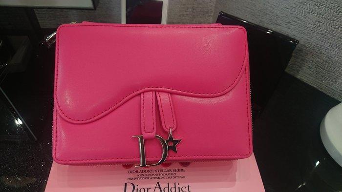 全新dior迪奧超模巨星訂製包 馬鞍包口紅套組 粉紅皮革