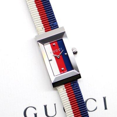 現貨 可自取 GUCCI YA147508 古馳 手錶 25x14mm 小錶面 切割鏡面 經典配色 皮錶帶 女錶
