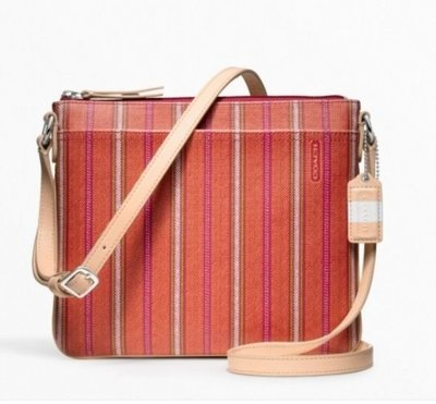【美國精品館】COACH 49249 Legacy Weekend Ticking Stripe Crossbody (橘) PVC 條紋斜背包~