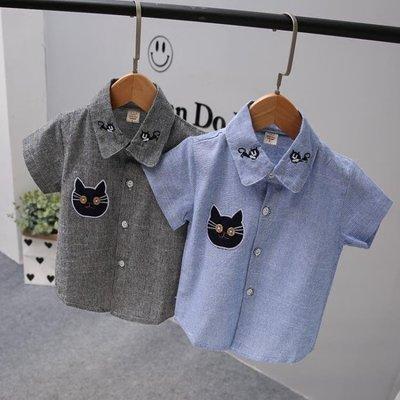 男童純棉短袖白色刺繡貓咪襯衫寶寶純色襯衣上衣2018兒童夏季新款