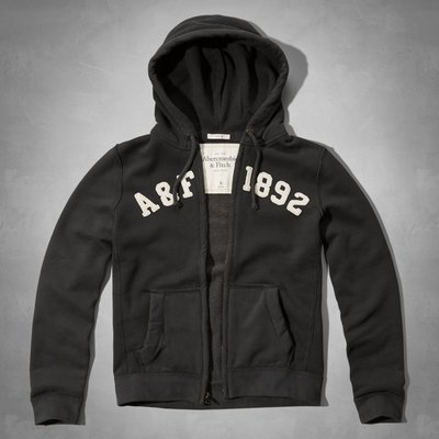 Maple麋鹿小舖 Abercrombie&Fitch * AF 深灰色貼布電繡連帽外套 * ( 現貨L號 )