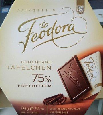 新貨到 德國 Feodora 巧克力 75% 賭神巧克力 薄片 225G/盒(30片) ~