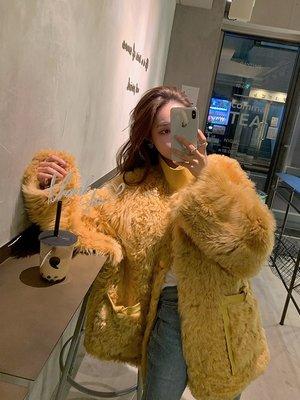 'OVERCOAT'奶熊系列 進口托斯卡納半卷皮毛一體 皮草外套女