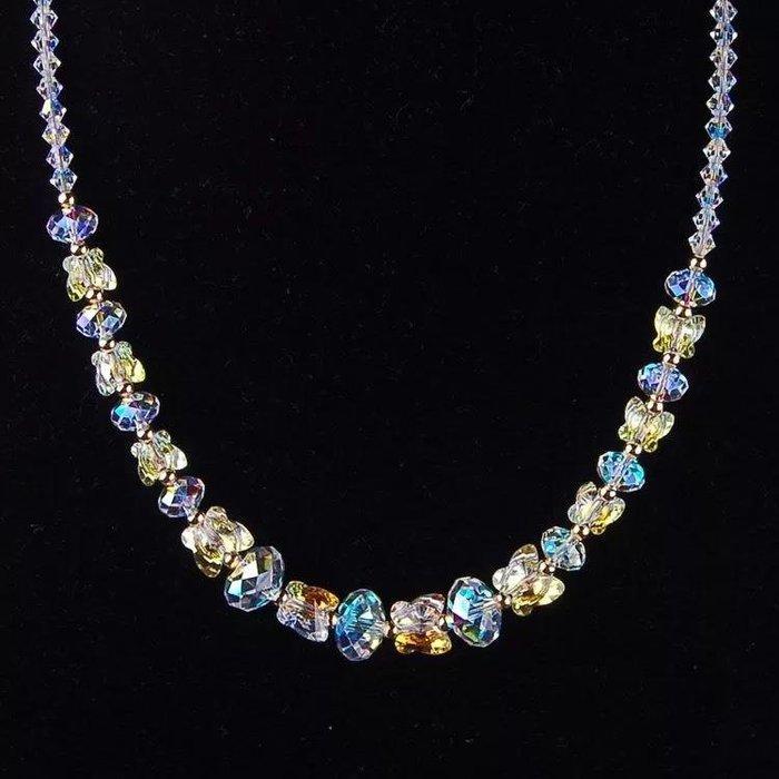 采用元素算盤珠蝴蝶水晶項鏈鎖骨鏈婚禮佩戴影視飾品 新麗小舖