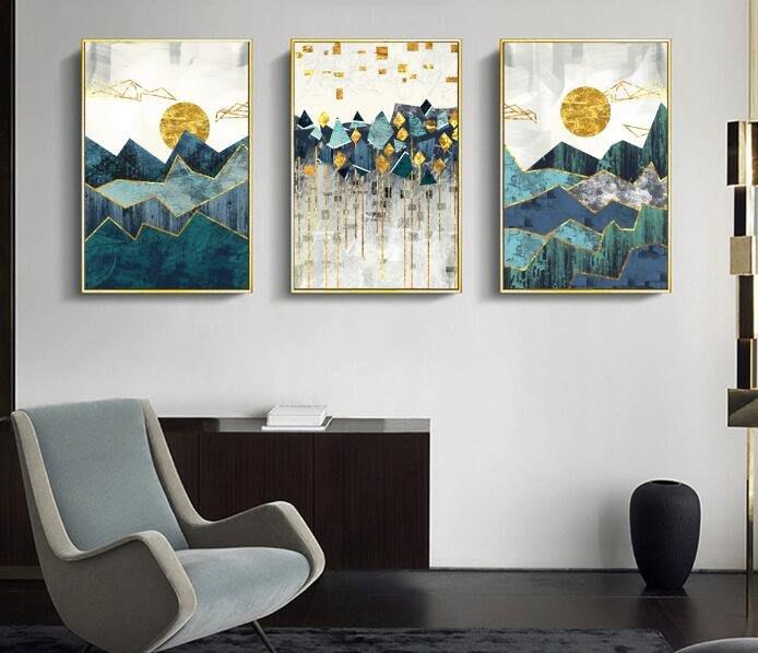 三幅一組油畫布 抽像風景日出日落 畫芯/畫布/30X40☺暖暖屋☺傢居藝術館