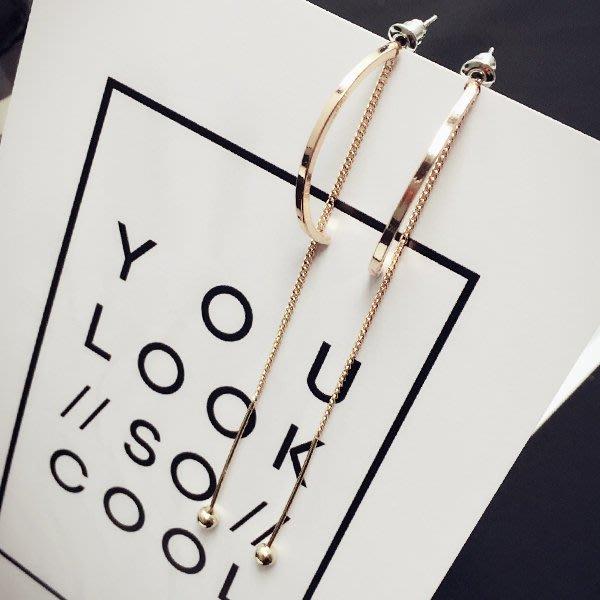 金色鏈條耳釘一對【ZOWOO-B0143】歐美極簡約設計耳環耳針交換禮物非史黛拉兔星巴克狗杯Soohyang