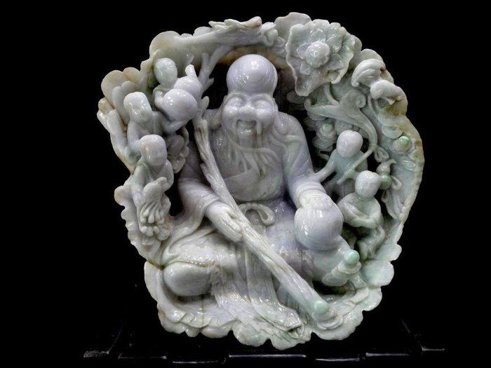 *藏雅軒*緬甸玉原石原礦雕刻擺件-紫光-五子登科大壽翁