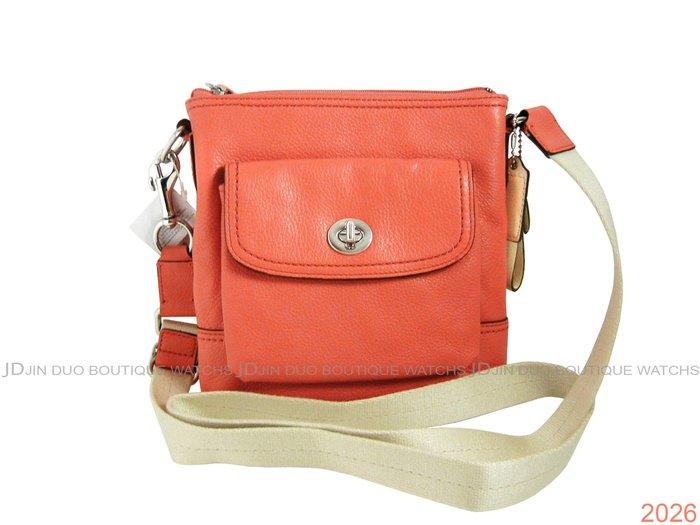 金鐸精品~2026 COACH F49170 粉橘色皮革紋小方包 側肩背包 全新品