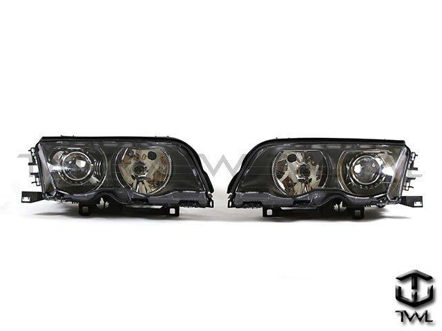 《※台灣之光※》全新BMW寶馬E46 4D 4門98 99 00 01年HID氙氣黑底魚眼投射大燈頭燈