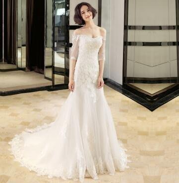 2017新款奢華蕾絲花紋點綴修身顯瘦魚尾婚紗EY1702