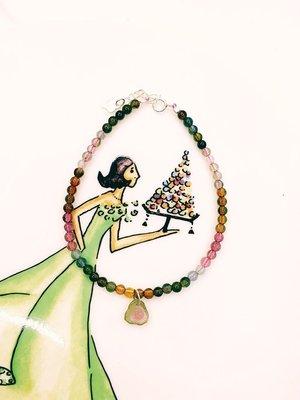 天然水晶玉石【多彩糖果色碧壐垂飾碧壐小花手鍊】 創意時尚飾品開運旺運招褔
