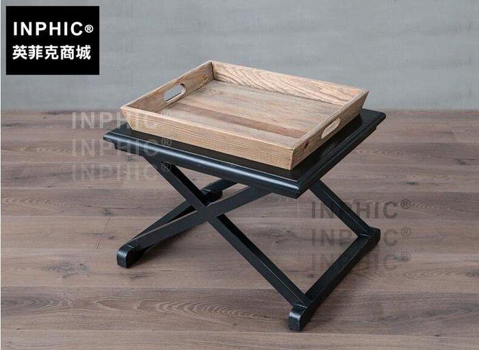 INPHIC-美式鄉村茶几 歐法簡約個性帶托盤黑白長方形咖啡桌小邊桌-B款_S1910C