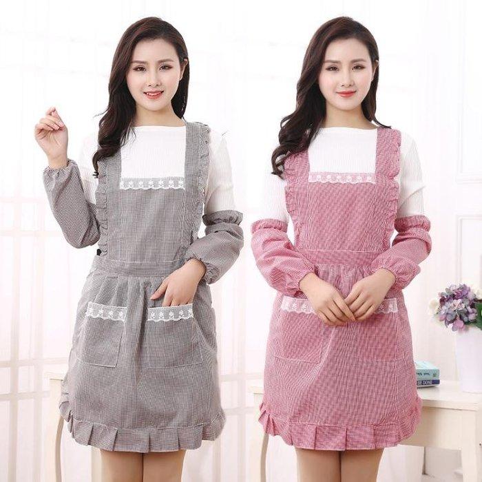 韓版時尚雙層防水圍裙廚房做飯圍腰圍裙可愛公主罩衣餐廳工作服