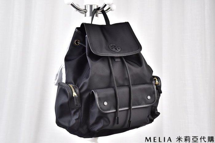 Melia 米莉亞代購 美國代買 Tory Burch TB 8月新品 雙肩包 後背包 尼龍防水 抽繩款 黑色