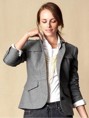 cocololo小舖:Banana Republic 女士羊毛法蘭絨灰色西裝外套 (4號) (681446)