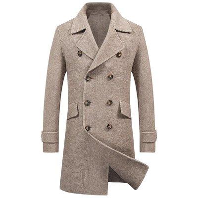 毛呢大衣 中長版風衣-純色雙排扣翻領羊毛男外套2色73wk28[獨家進口][米蘭精品]