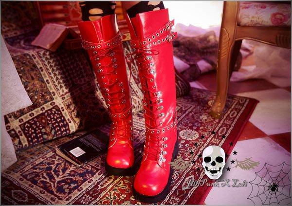 Oo吉兒oO龐克重金屬樂團風~新世界星球搖滾巨星長筒綁帶馬汀款高跟靴 PUNK ROCK 紅