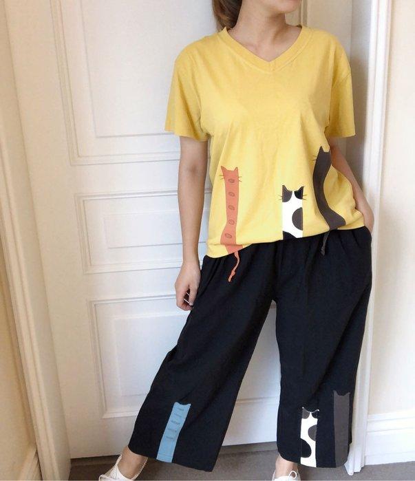 日本卡拉貓~長長貓薄布寬褲