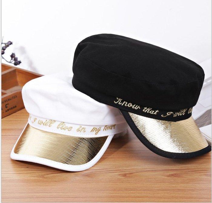 【嫚嫚】美國白色海軍帽女夏帽子女網紅款英倫鴨舌帽女可愛日系秋季歐美潮H1