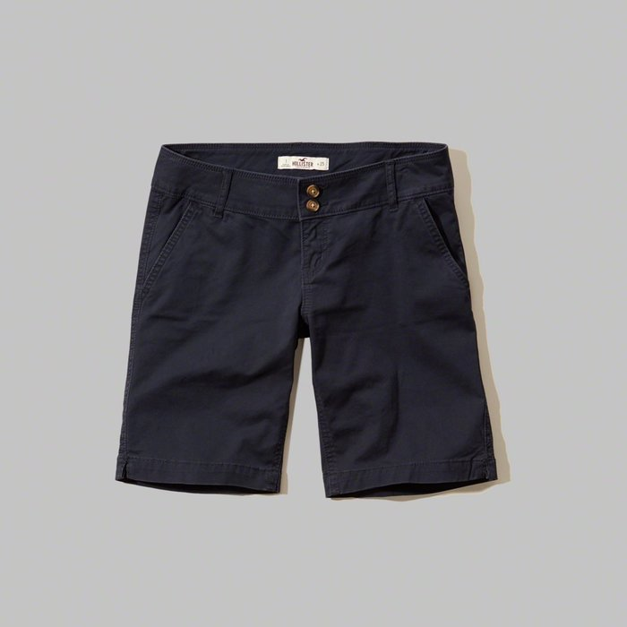 【HOLLISTER Co.】【HCO】HC女款休閒五分短褲雙扣黑藍 F09160229-32