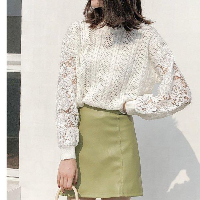 初秋超美鏤空蕾絲毛衣長袖針織衫上衣