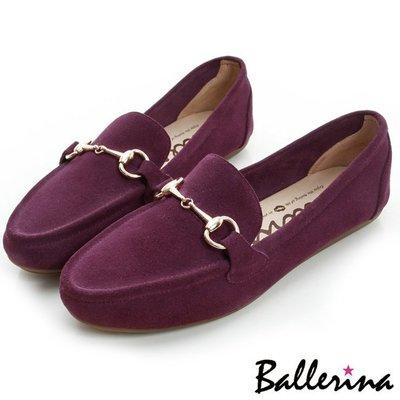 Ballerina-牛麂皮金屬鍊樂福鞋-紅【BS700008RD】