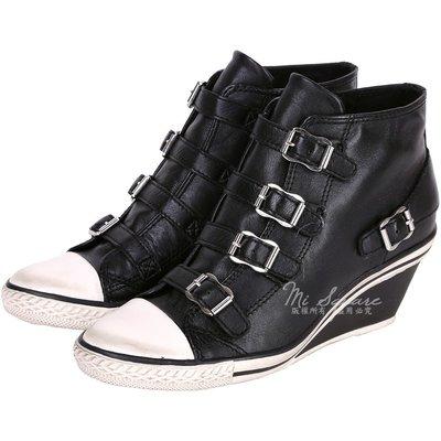 米蘭廣場 ASH GENIAL 經典羊皮釦帶楔型休閒鞋(黑色) 1520450-01