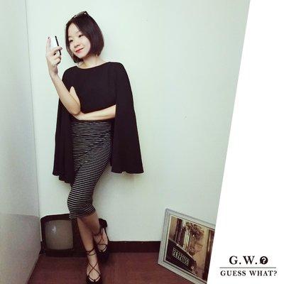 GW【斗蓬雪紡紗上衣】 黑色 神秘感 素色 設計感 層次 飄逸 S-L GUESSWHAT