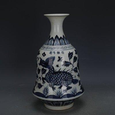 ㊣姥姥的寶藏㊣ 大明永樂青花麒麟牡丹紋金鐘瓶  出土古瓷器手工古玩古董收藏