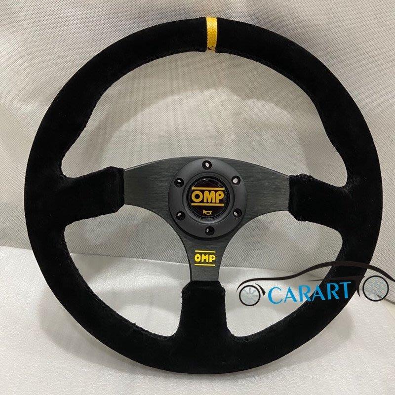 新款 OMP平面磨砂反絨方向盤 14寸350MM黑骨架方向盤 賽車K5 K8 雨燕通用方向盤改裝っ頌茗坊